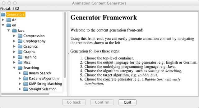 Animal Content Generators main window